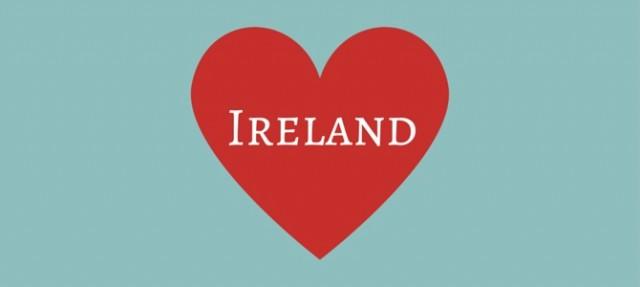 Heart shape with Ireland text