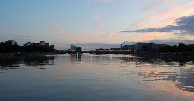 Limerick city reflected in the River Shannon