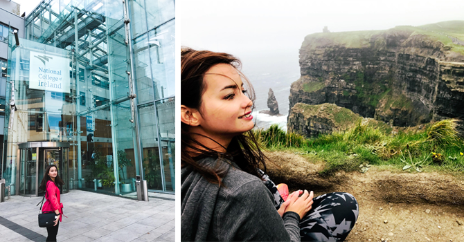 Nina standing in front of big glass building and nina looking out over the steep cliffs of Moher