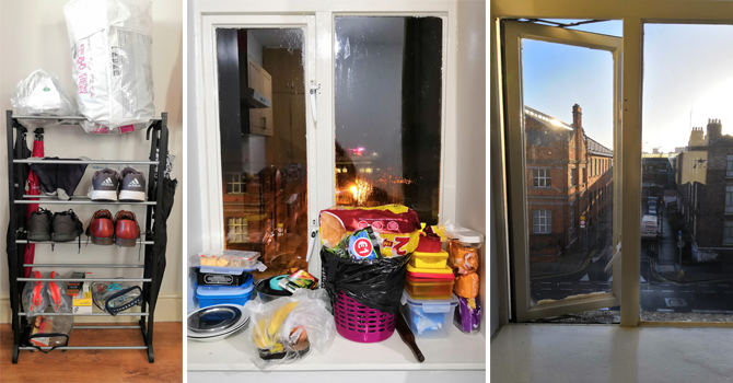 an organised shoe rack, a windows full of objects and a view of Dublin from the same window