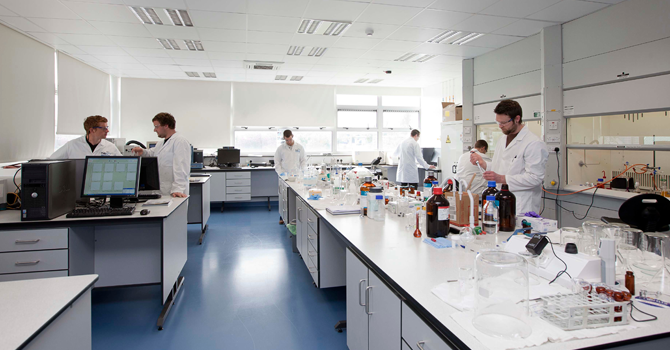 A lab where students work