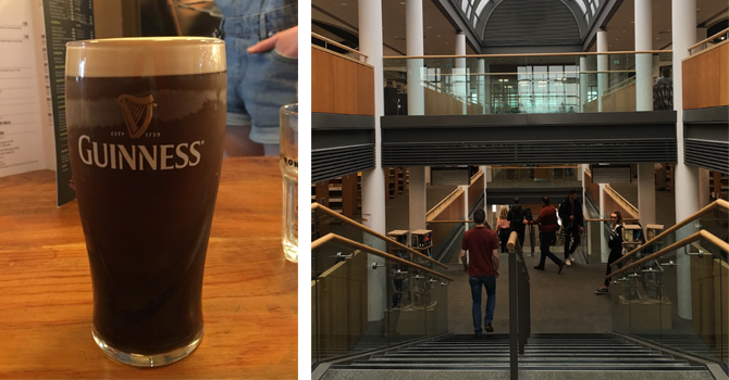 A pint of Guinness and a view of the inside of a building on campus