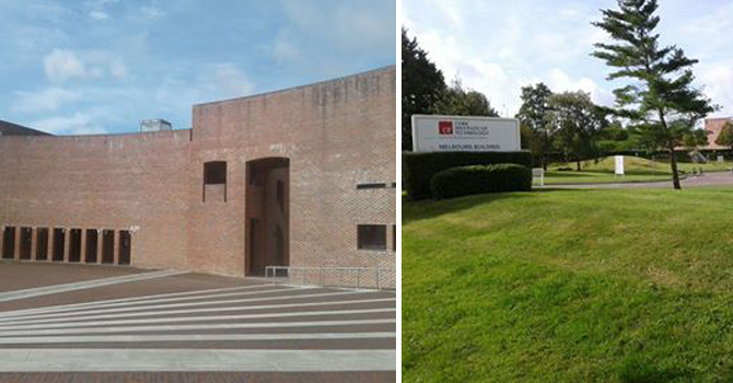 Views of the CIT campus, one with red brick building and the other a grassy area