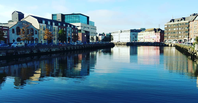 A view of cork reflected in the river water