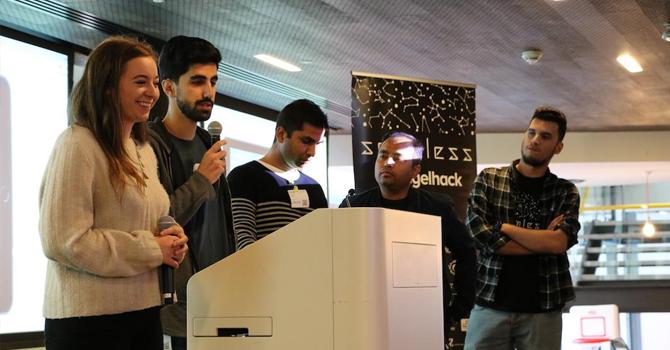 Students present on a podium