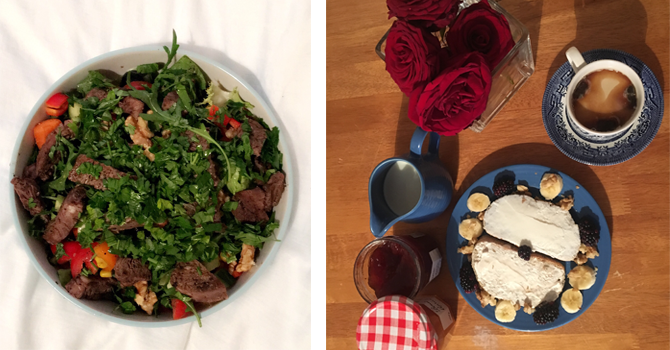 a health plate of salad and a big breakfast with a a small vase of flowers