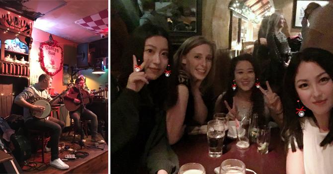 Live music in a pub and women girls enjoying a few drinks in a pub