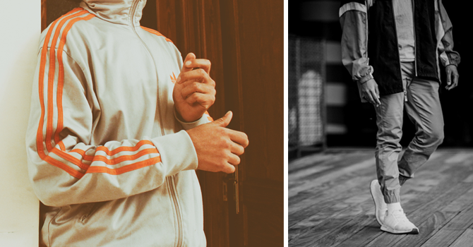 Two images of typical tracksuits, the one on the left with three stripes down the sleeve