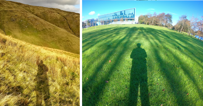 Left: Syed's shadow in long grass in the Irish countryside. Right: Syed's shadow on a green field in front of the university