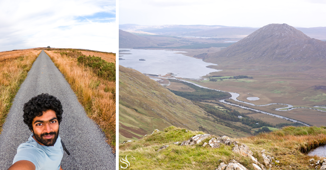 Left: Syed's shadow in long grass in the Irish countryside. Right: Rolling green hills and a lake in Joyce country