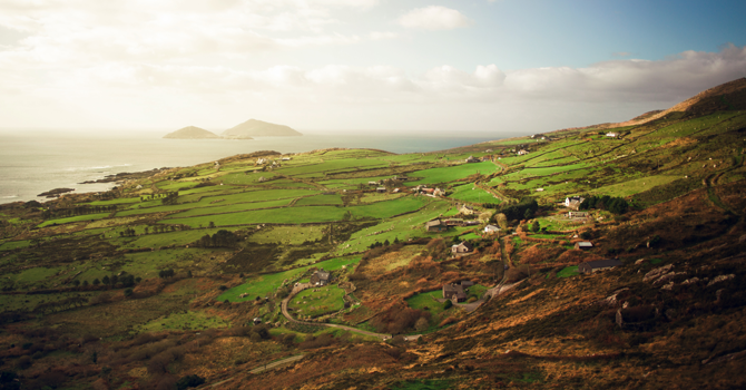 Rolling green hills in the Irish countryside
