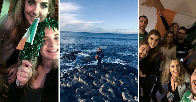 Left: Two girls socialising holding Irish flags. Middle: A girl with her back to camera stares out to sea. Right: Friends gathered to celebrate, holding an Irish flag