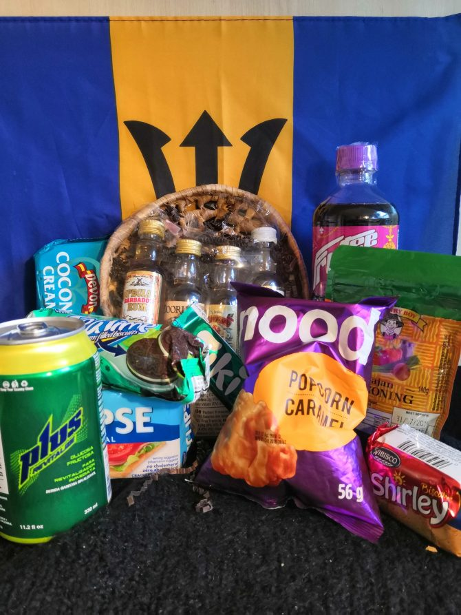 snack foods against a Barbados flag