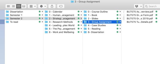 Screenshot of folder management system on Google Drive