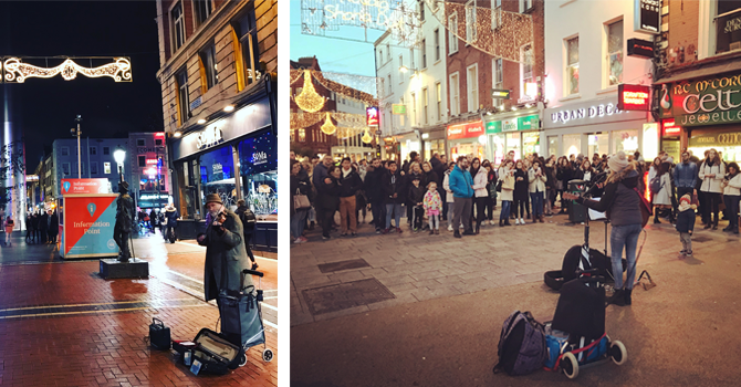 Performers on Dublin's Grafton Street busking to crowds