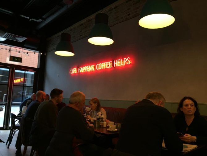 Neon sign in a restaurant