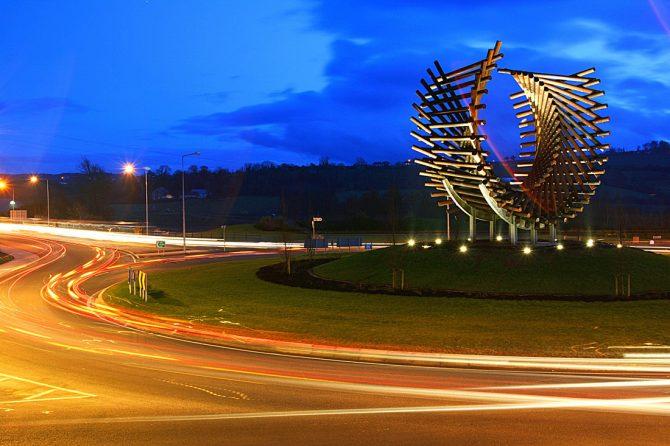 Roundabout at night