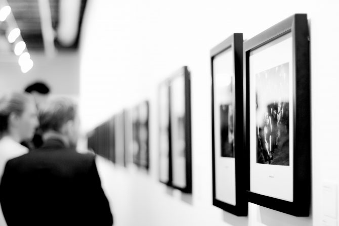 Blackand white photographs in frames