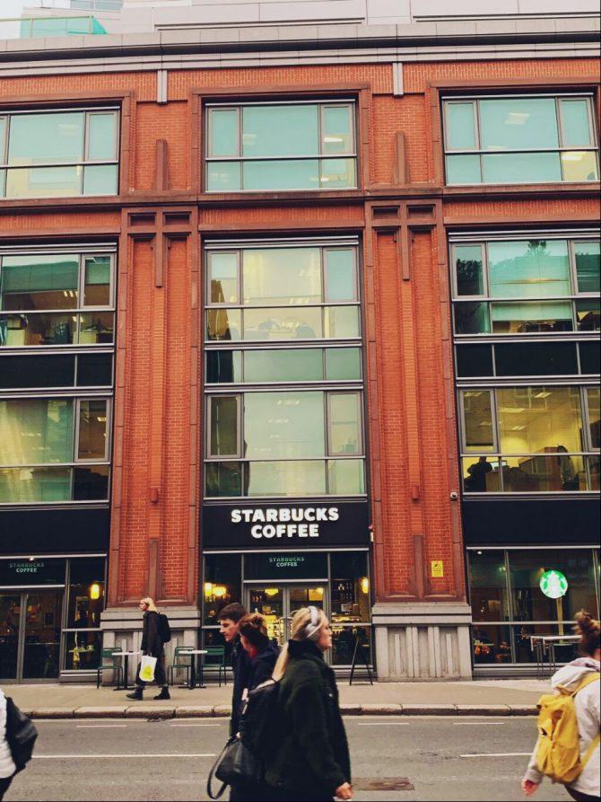 Starbucks building on Dublin street