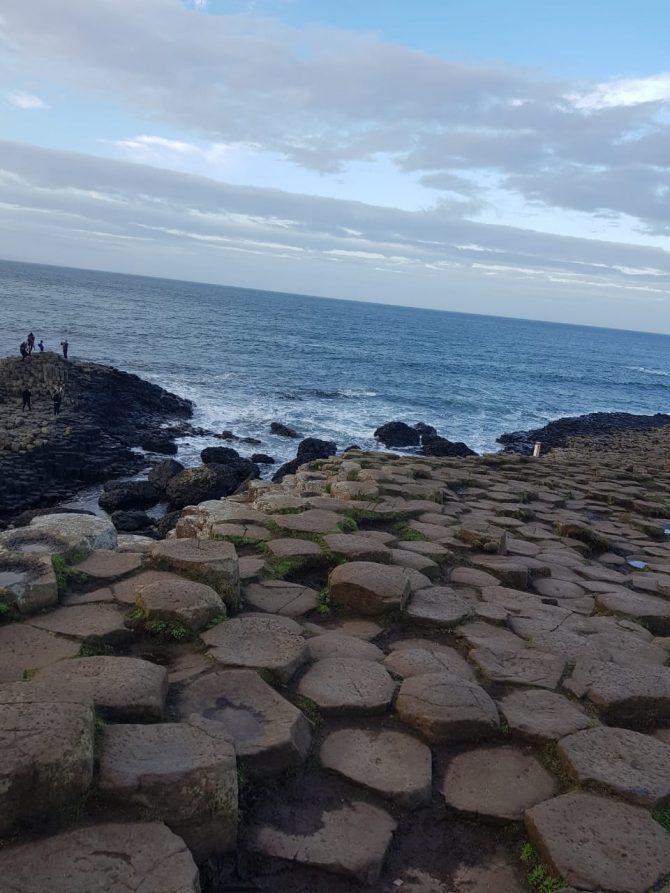 coastal scene with the giants causeway stones