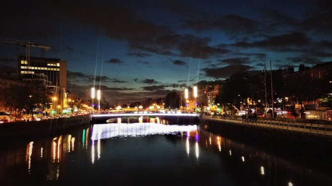 Lights reflected on the river Liffey at night time