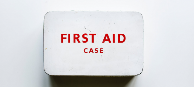 red and white first aid case