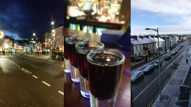 montage of scenes from around Cork including a street at night, a snow covered street in winter and a line of shot glasses on a bar containing dark liquid