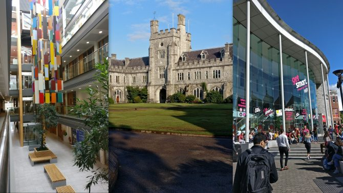 montage of scenes from UCC including old buildings, students gathered around newer architecture and the interior of a hall