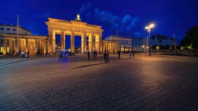 Blue sky at dusk behind the Brandenburg Gate in Berlin, Germany