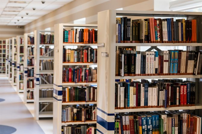 rows of bookshelves receding into the distance