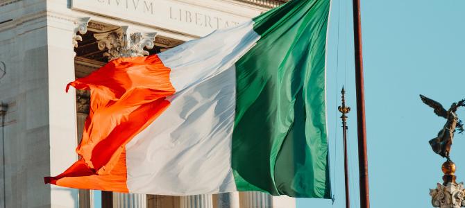 Irish flag blowing in breeze